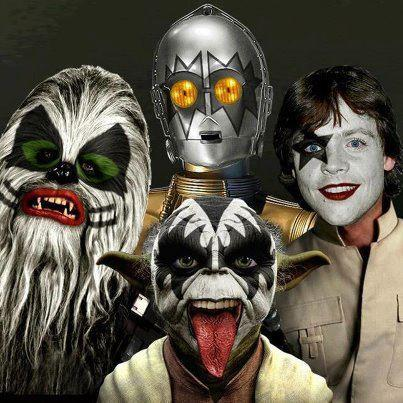 funny star wars kiss halloween costume yoda chewbacca c3po luke all dressed up as kiss for halloween picture this one had me shaking my head