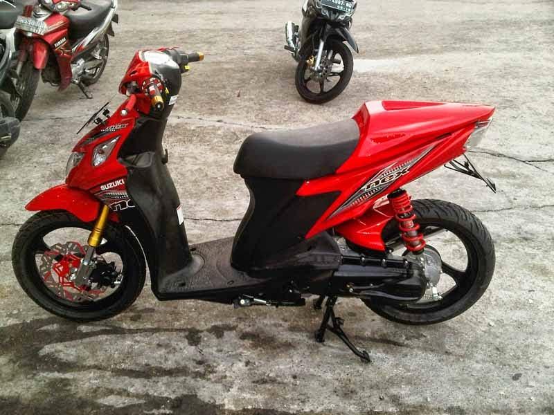 Modifikasi Suzuki Nex Merah Racing