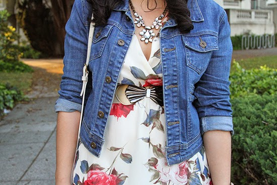 Denim Jacket Styled with a Floral Dress