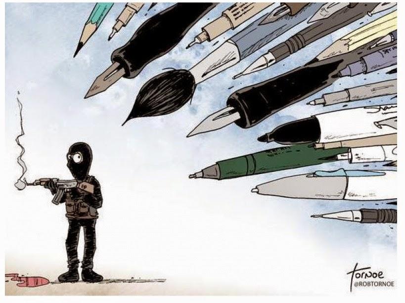 Hommage à Charlie Hebdo les crayons contre les kalachnikov
