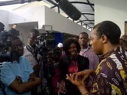 Femi Kuti speaking at the opening ceremony of the Kalakuta's museum