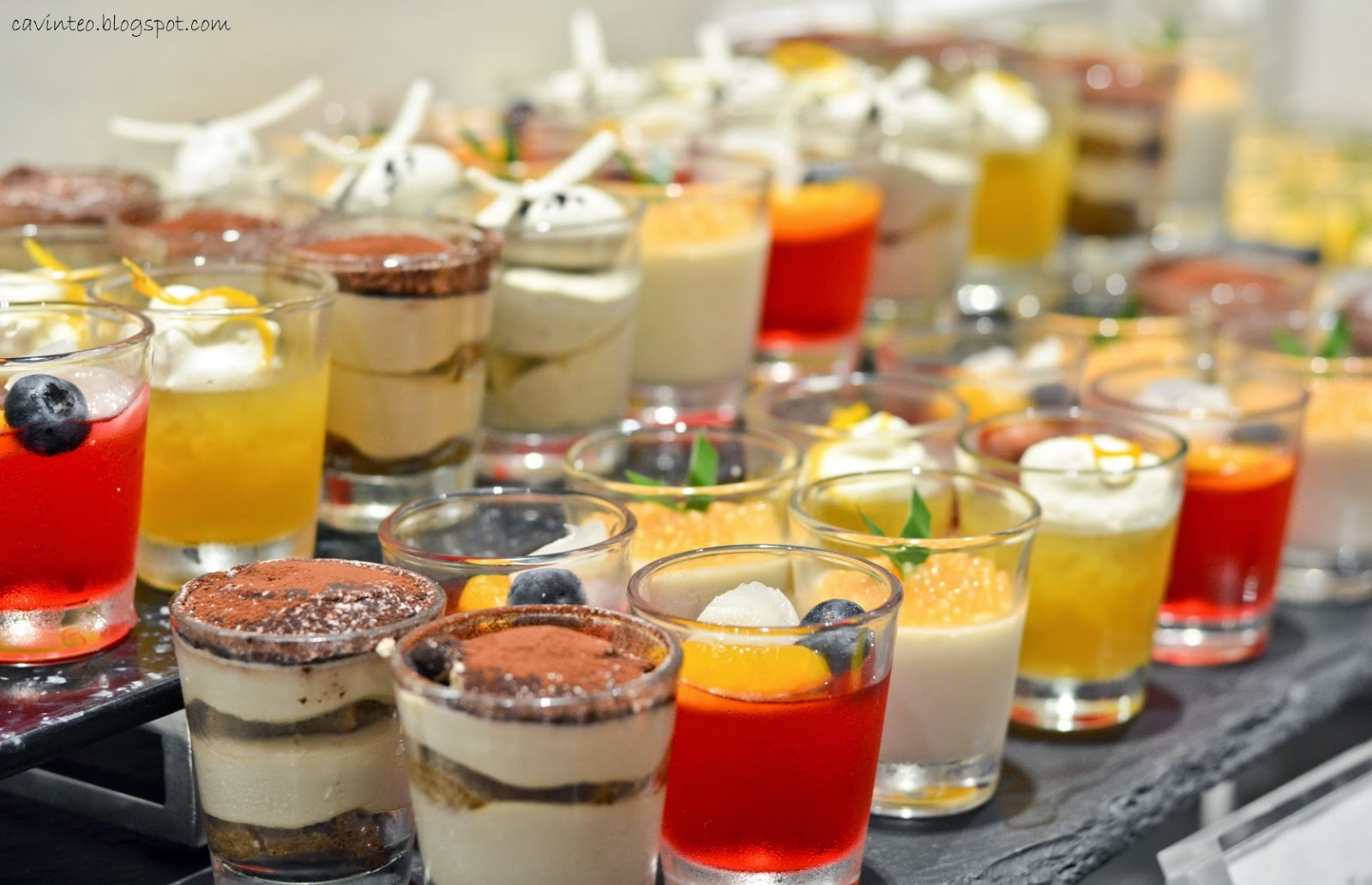 ... Thai sticky rice with mango, kueh lapis, dessert shooters and even