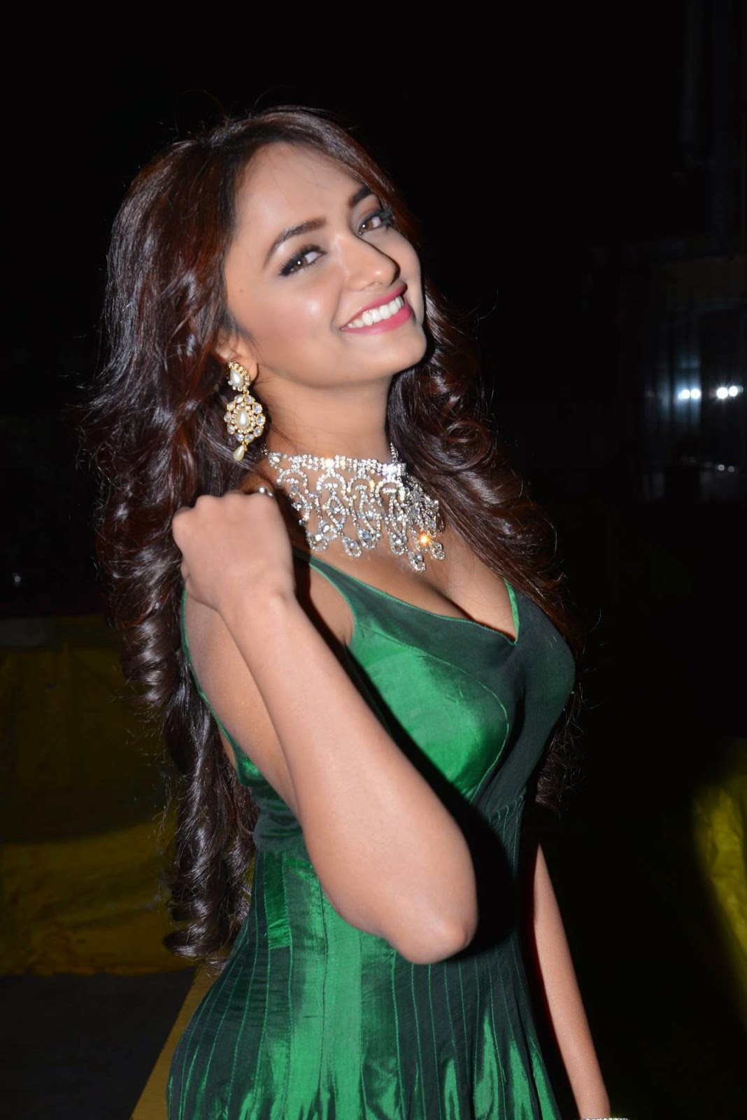 Actress Jiah Latest Cute Hot Beautiful Green Dress Spicy Photos Gallery At Hyderabad Love Story Movie Audio Launch
