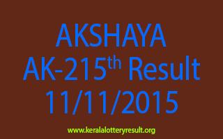 AKSHAYA AK 215 Lottery Result 11-11-2015