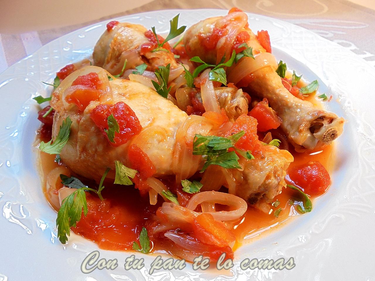 Con tu pan te lo comas muslitos de pollo con tomate y cerveza - Muslitos de pollo ...