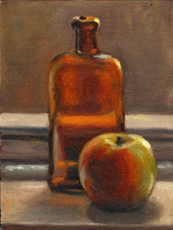 Oil painting of a brown antique medicine bottle and an apple on a window sill.