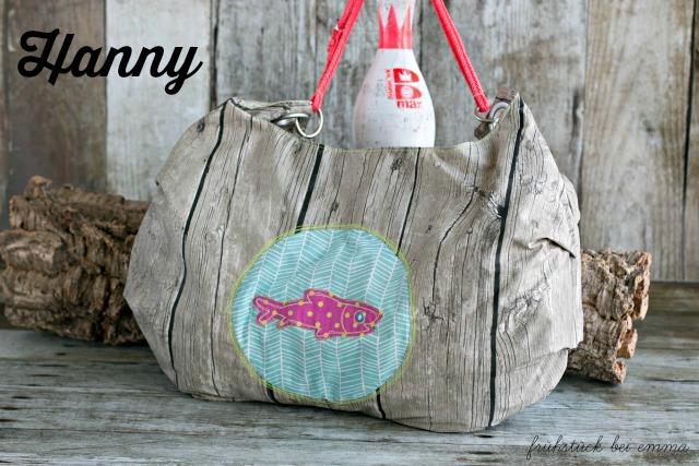 Wachstuch Strandtasche Holzdekor Frühstück bei Emma große Tasche