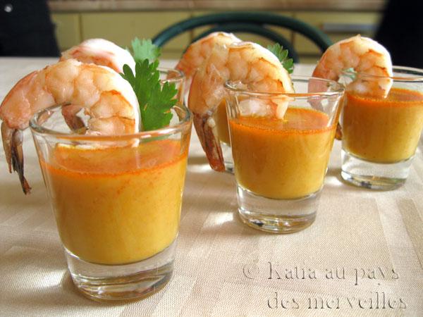 Laksa aux crevettes en verrines