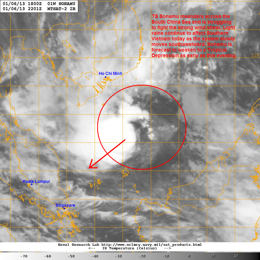 latest satellite image shows that there is still strong convective activity associated with sonamu however as we ve seen for a few days now