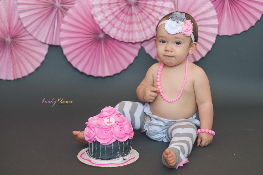 omaha first birthday cake smash photography girl angel pink