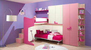 dormitorio de niña rosa y lila