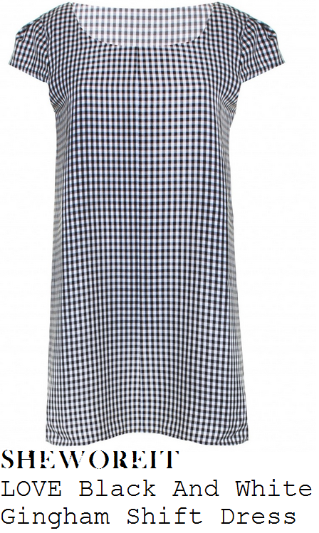 billie-faiers-black-and-white-monochrome-gingham-check-short-sleeve-shift-mini-dress-towie