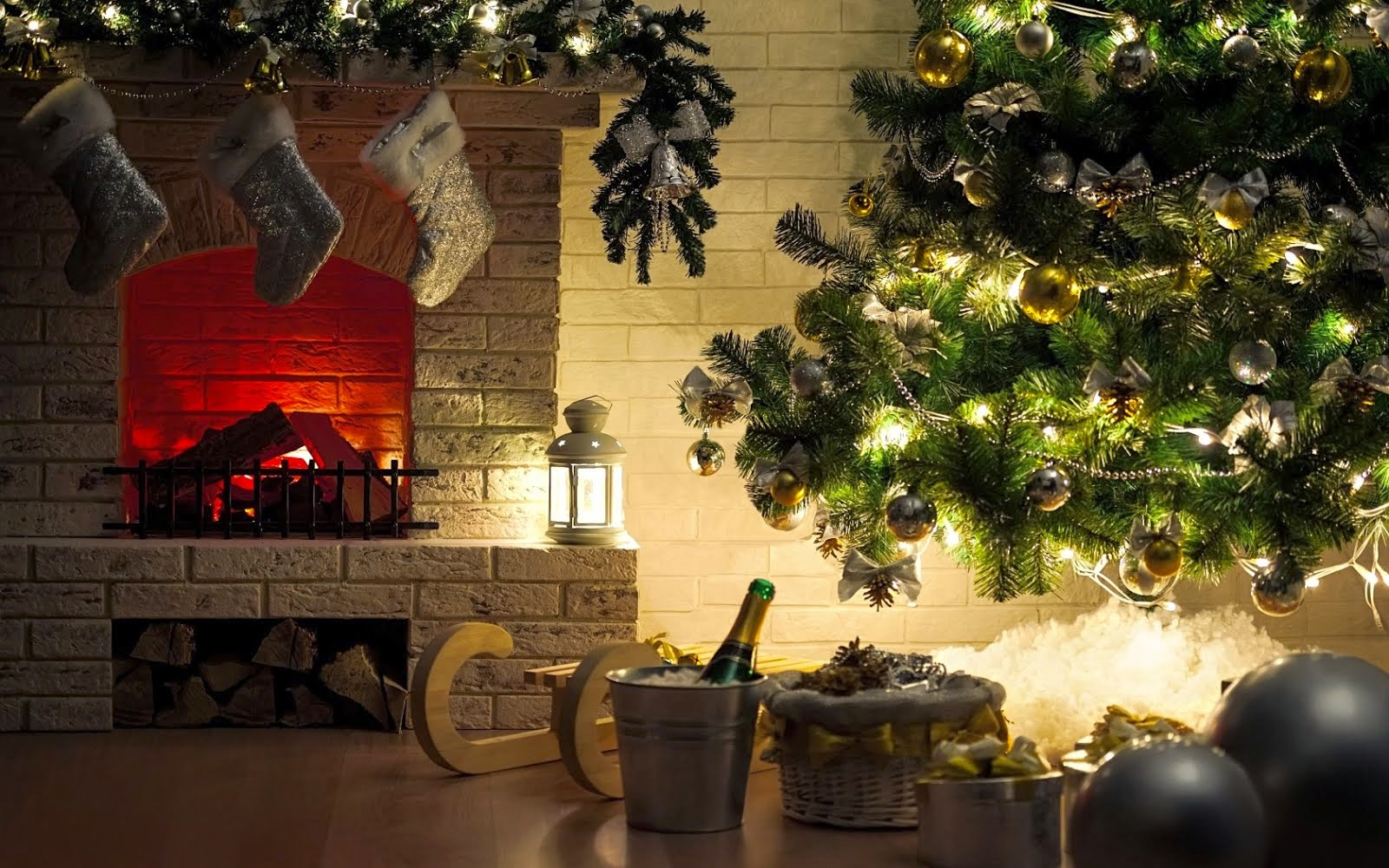 Sweet fireplace during the holidays