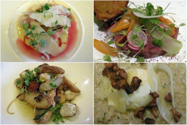 Alcachofas – Tartare de venado – Filetitos de pescado con coliflor y patatas – Risotto de setas / En Charlotte's Bistro en Chiswick, Londres