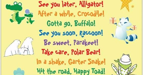 Image result for rhymes like see you later alligator