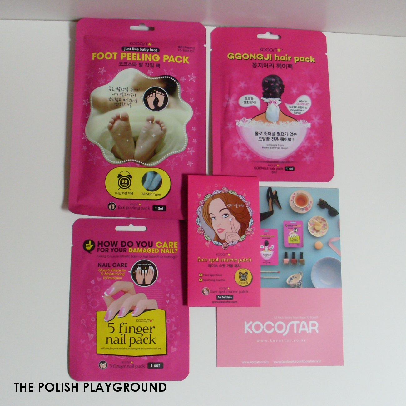Memebox Global #14 Unboxing - Kocostar 4 Package Set [Ggongji Hair Pack, Face Spot Mirror Patch, 5 Finger Nail Pack, Foot Peeling Pack]