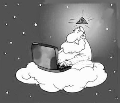 Dios en su nube usando su laptop