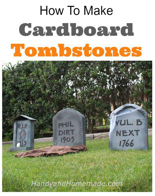 how to make cardboard tombstones halloween diy handy homemade