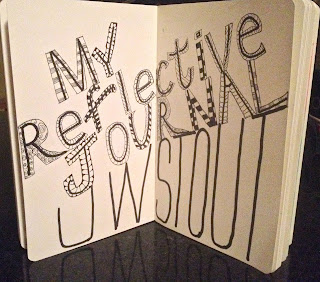 "Picture of open Moleskine Journal with title, ""My Reflective Journal, UW Stout"" created in ink and designs"