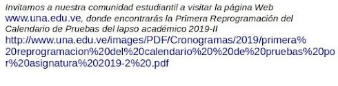 Primera Reprogramación del Calendario de Pruebas Lapso Académico 2019-II
