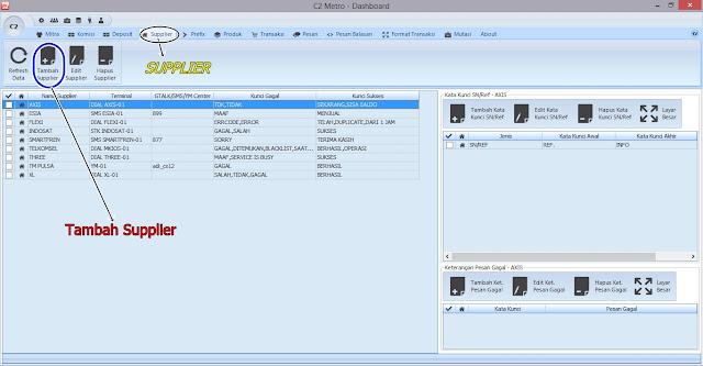 Tampilan menu produk C2 Metro
