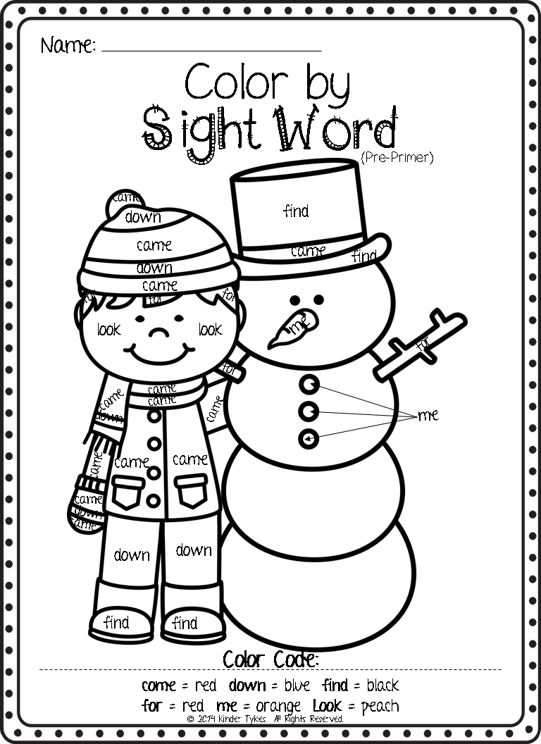 Worksheet Color By Sight Word Worksheets kinder tykes they absolutely love color by sight word worksheets and have been asking me if i had anymore since we finished the christmas ones