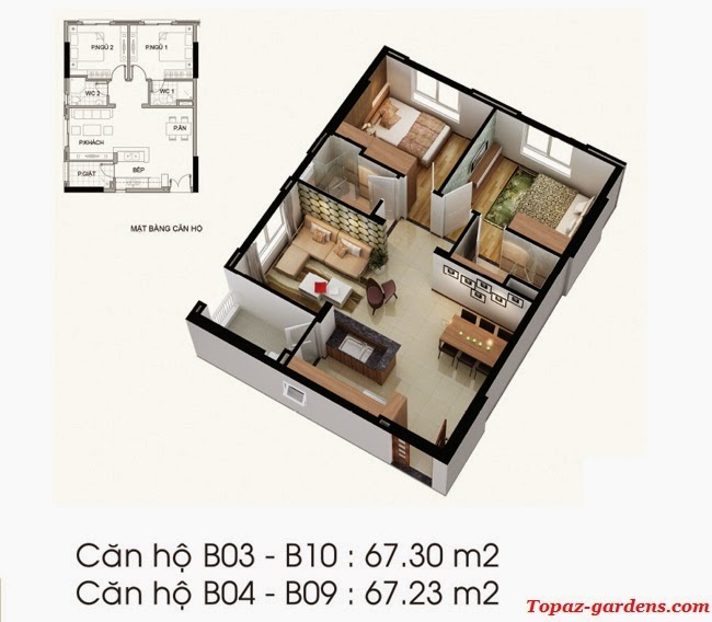 can ho Topaz garden 67m2