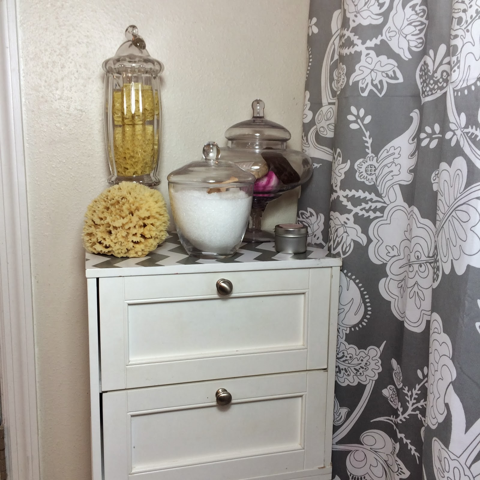 Mini Bathroom Update With Apothecary Jars