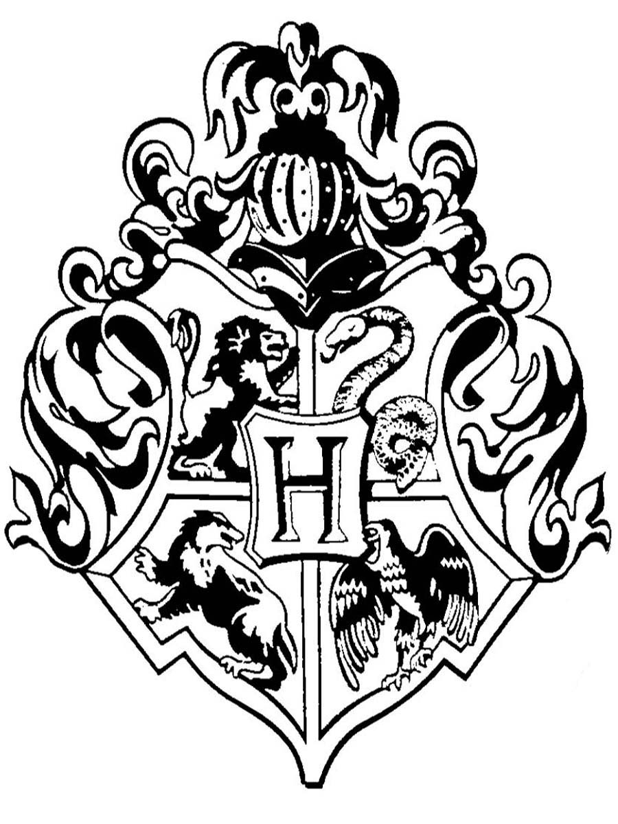 Gryffindor Crest Black And White Doodlecraft: hogwarts crest rubber ...