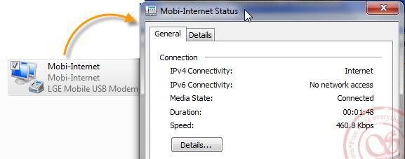 Dùng diện thoại LG làm modem kết nối Internet - 3G