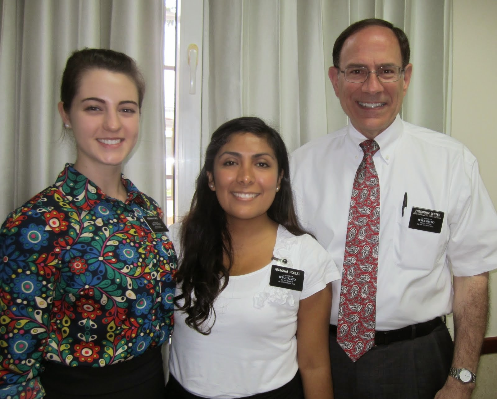 "First companion and ""trainer"" - Hermana Robles - and President Dester"