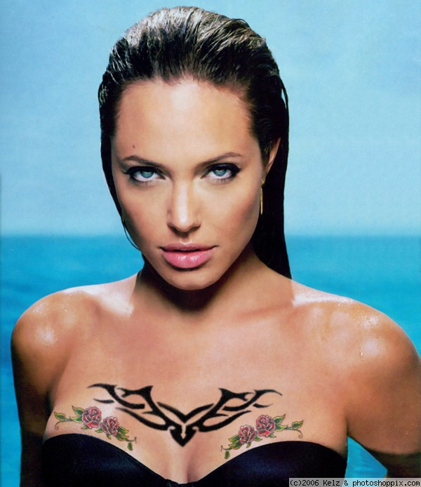 angelina jolie tattoos in wanted. tribal chest tattoo. Angelina