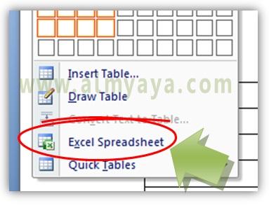 Gambar: Cara menyisipkan sheet excel untuk menjadi tabel di microsoft word