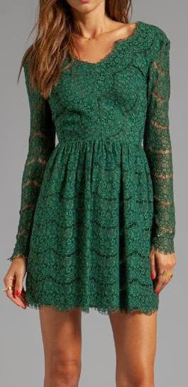 Gorgeous sleeve emerald lace dress fashion style