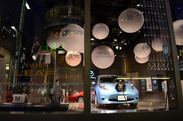 Nissan Leaf on display, Ginza, Tokyo