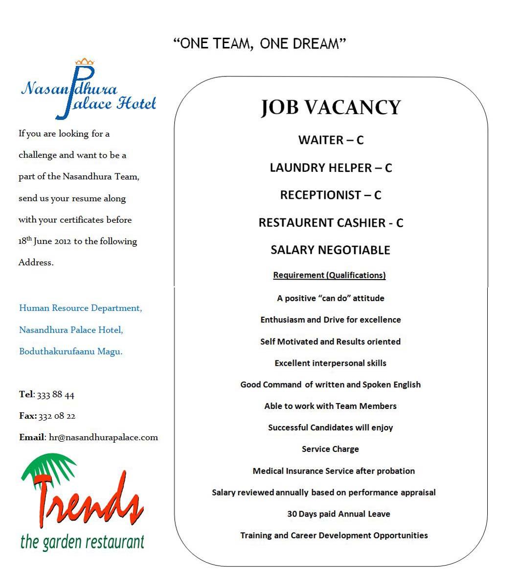 job maldives cashier jobs in maldives