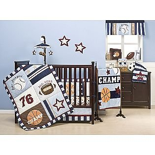 American Sports Crib Set Basketball Baseball Football Design
