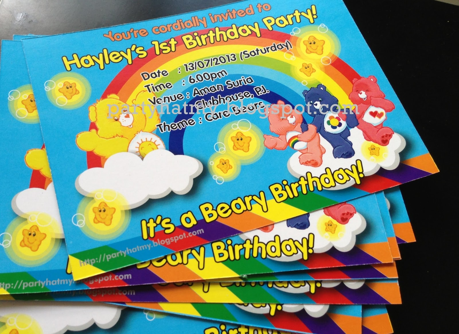 Party Hat Care bears theme Party – Care Bears Birthday Card