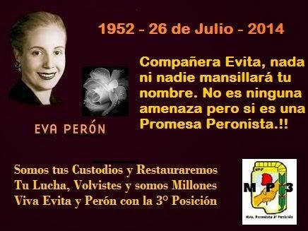1952 - 26 de julio - 2014   62 años de su adiós.