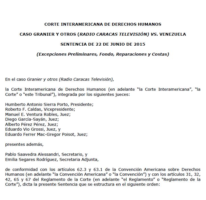 Fallo Corte Interamericana de Derechos Humanos por caso RCTV de Venezuela
