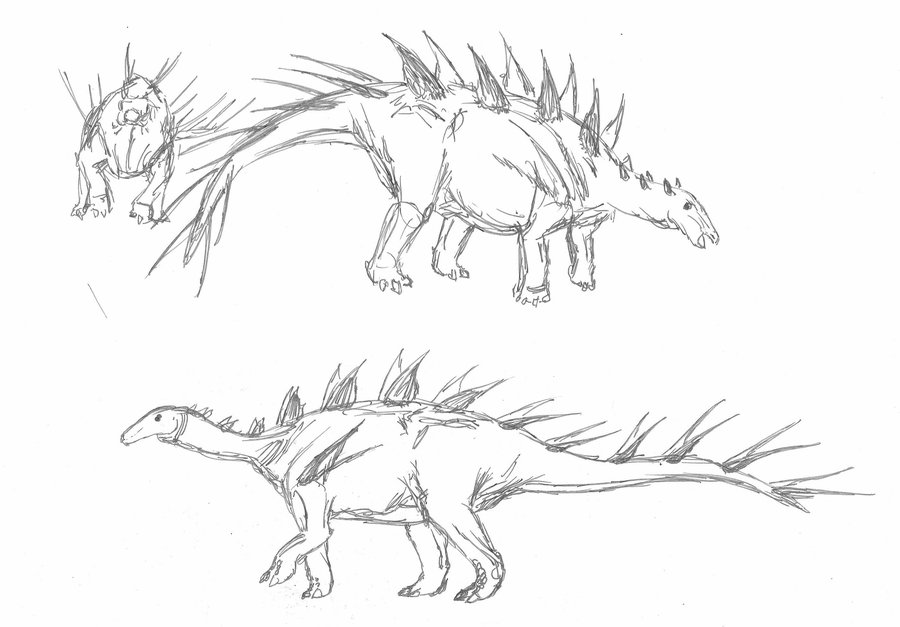 sketch of lexovisaurus in motion by luis perez