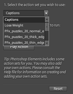 Have you ever tried to play actions in Adobe Photoshop Elements or tried to use some freely available actions/effects on internet. Here we are trying to share the first experience of downloading free action-effects from Adobe Photoshop Exchange and play them in Adobe Photoshop Elements to get this wonderful effect of Zig-saw puzzle. Let's check !!! So let's go step-by-step for this1. We went to Photoshop Exchange at http://www.adobe.com/cfusion/exchange/index.cfm?event=productHome&exc=16&loc=en_us2. Chosen one of the cool effect and dowloaded PSE action. 3. A ZIP file is downloaded from this page. So extracted all the files.4. Now open following location and copy extracted files Windows XP - C:\Documents and Settings\All Users\Application Data\Adobe\Photoshop Elements\10.0\Locale\en_US\Workflow Panels\actionsWindows Vista - C:\ProgramData\Adobe\Photoshop Elements\10.0\Locale\en_US\Workflow Panels\actionsMac System -  library/Application Support /Adobe /Photoshop Elements /10.0/Locale/en_US/Workflow Panels/actions(The next time you start Photoshop Elements, the action will appear in the Automated Actions guided edit menu.5. Open your photograph in Adobe Photoshop Elements and open it in Guided Edit mode. Please refer to image shown below -6. Go to the bottom on the list shown on left and click on 'Action Player'. Your workspace will look like the one shown below -7. Go to the first dropdown menu and you will list of all action sets you have downloaded and copied at appropriate location. After selecting Action-Set, select Action in second dropdown8. Click on Apply after selecting Action on left side. It will start the processing. After some animation in Adobe Photoshop Elements, it will show you final result after applying actions.Hope that above mentioned workflow is enough for making you understand about how actions can be played and effect are applied in Adobe Photoshop Elements. We shall  share articles around actions in Adobe Photoshop Elements soon.