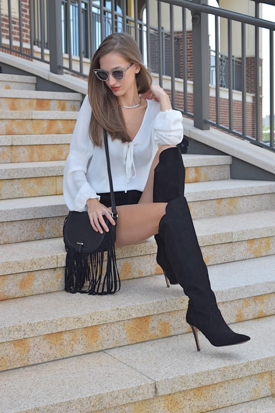 Wearing topshop suede black fringe cross body bag, Forever21 genuine suede black shorts