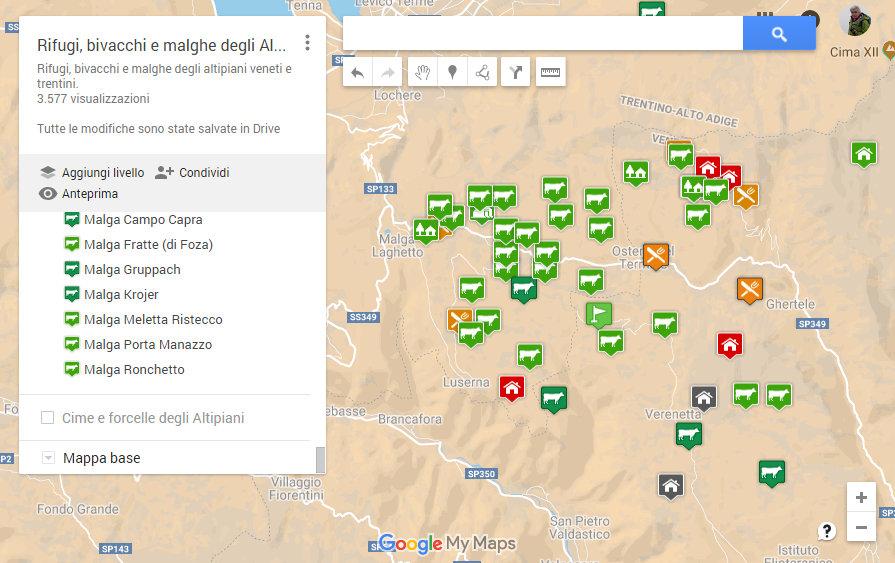 Mappa degli altipiani