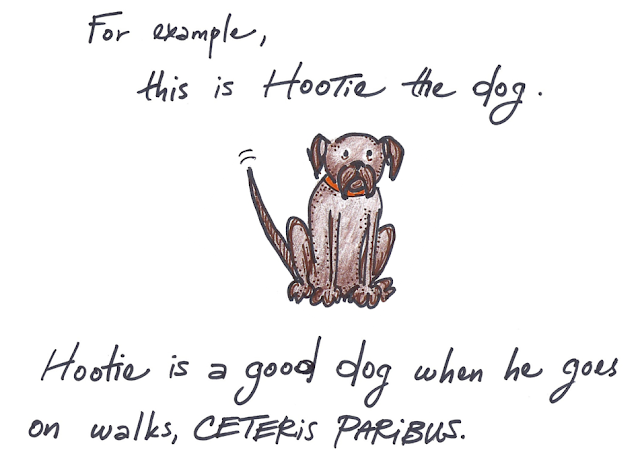 Hootie is a good dog when he goes on walks, ceteris paribus.