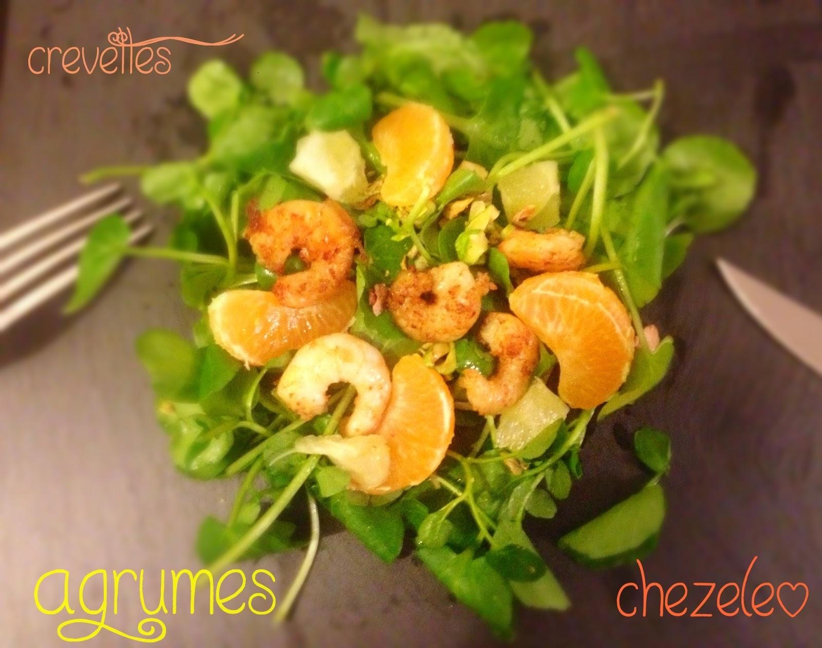 Chez el o salade de crevettes et d 39 agrumes for Entree legere hiver