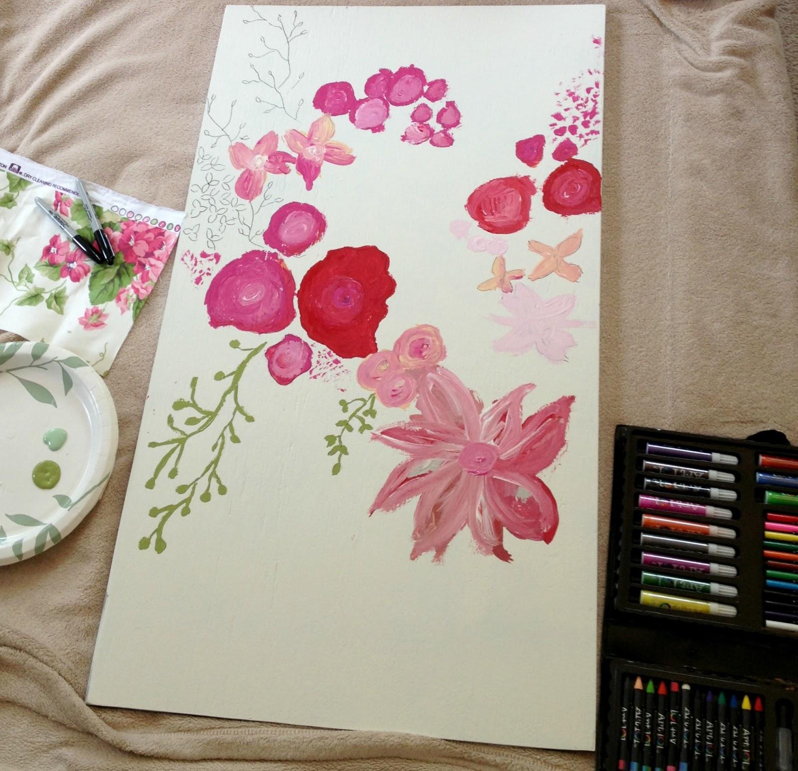 Diy floral wall art with nailhead trim livelovediy for Diy flower canvas wall art