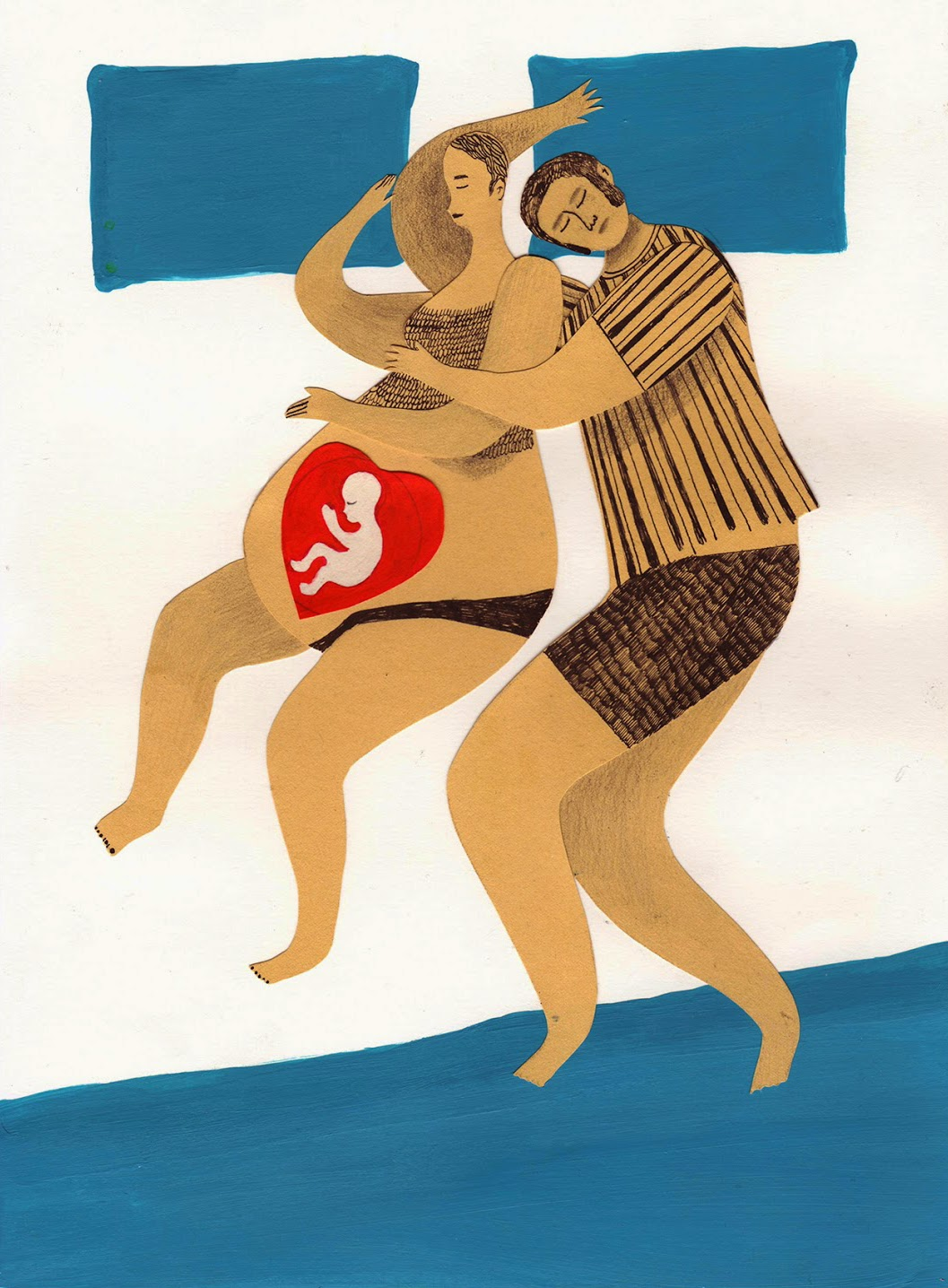 family asleep pregnant woman  illustration by Elena Maricone