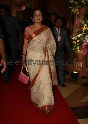 Hema Malini in White Chanderi Silk Saree