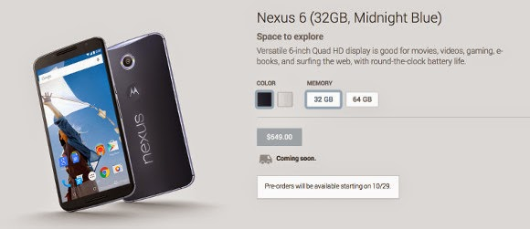 Nexus 6 pre-orders to start from 29th of October